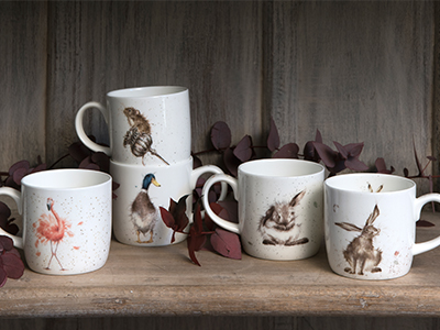 A selection of fine bone china mugs with animal designs exclusively from Hannah Dale